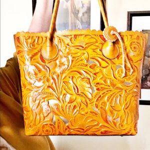 Patricia Nash Yellow Leather Metallic Tote